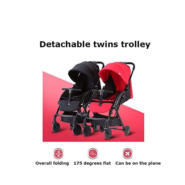 JXCC Double Strollers Baby Pram Tandem Buggy Newborn Pushchair with Adjustable Backrest- Black/Red -Safe And Stylish A JXCC 1. {Multi-angle adjustable}: You can sit down and adjust the angle from 0 to 175 degrees for all occasions. 2. {Light capsule car, detachable and separate}: Only 5.9kg, diamond car, can be on the plane, comfort zone baby, can be a single cart or can be combined into two cars 3. {Two-way implementation}: - Two-way implementation, switching parent-child mode 3