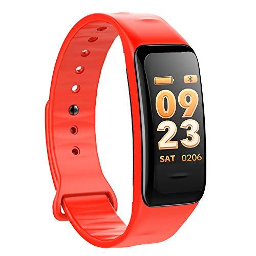 Atlanta Fitness Tracker mit Herzfrequenz GPS Pulsmesser Blutdruck Sauerstoff Farbdisplay Smartwatch Armband Uhr 9702 (Rot)