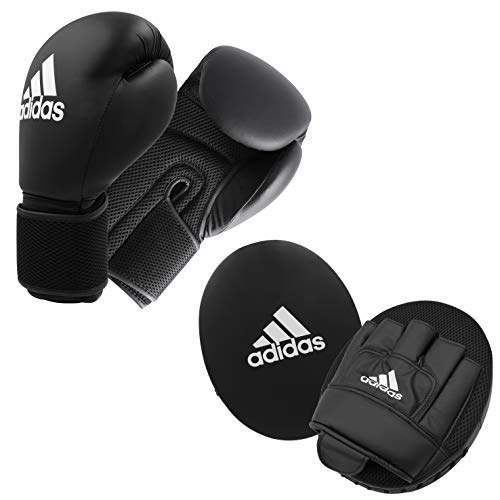 adidas Unisex – Erwachsene Adult Boxing Kit 2 Pratzen Set, Black, 14