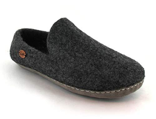 WoolFit Mokassins - einzigartig handgefilzte Hausschuhe aus 100% Wolle - Natur pur - Ledersohle & extra weiches Fußbett, Graphit, Größe 43