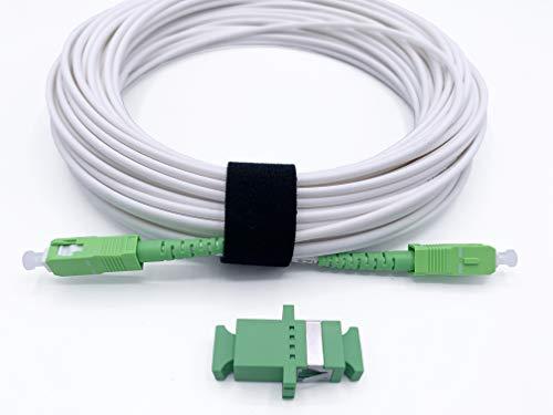 Elfcam®- Câble à Fibre Optique pour Orange Livebox SFR La Box Fibre Bouygues Bbox, La Livraison avec Le Coupleur pour Rallonge Fibre Optique, SC/APC à SC/APC Monomode Blanc, 10M