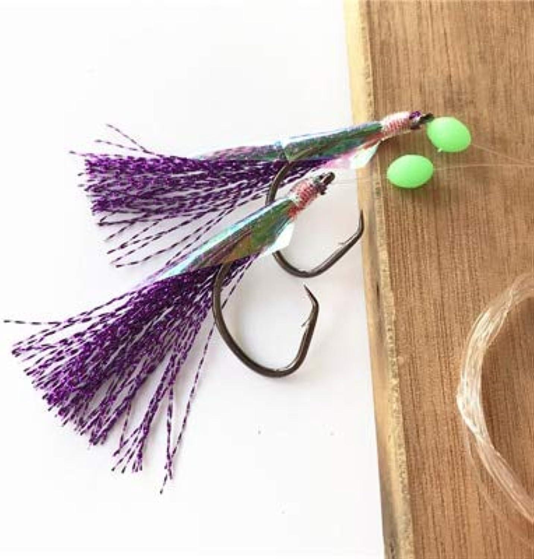 50 Bags 5 0 5 colors Promotion Wholesale Price Big sea Fishing sabiki rigs, 2 arms sabiki Hooks sea rigs with Sharp Hooks  (color  Purple)