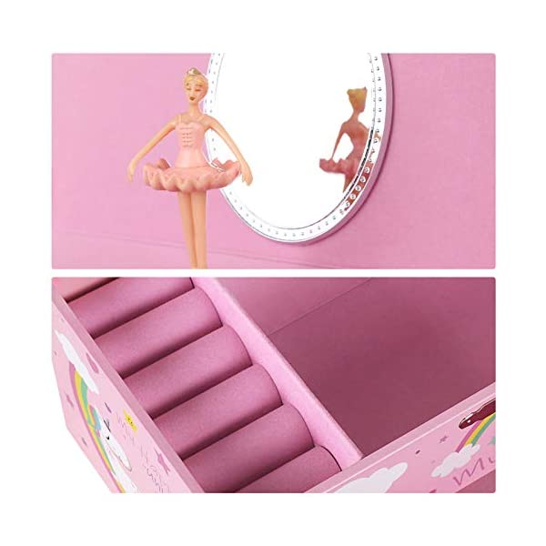 """SONGMICS Unicorn Ballerina Jewelry, Music Box with Pullout Drawer, Ring Slots and Divided Compartments, 7.5""""L x 4.3""""W x… 7"""