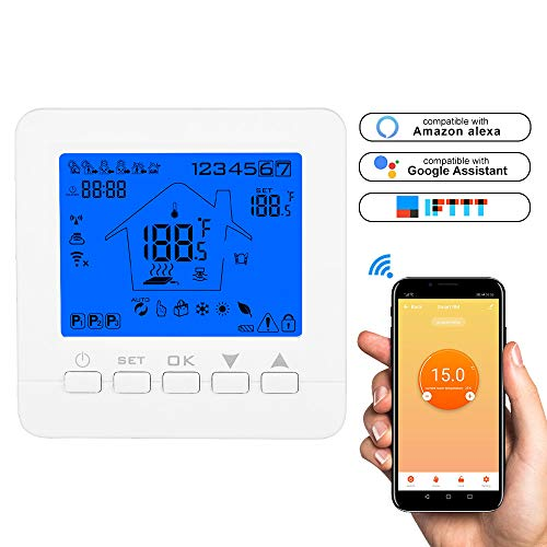 Konesky Termostato wifi Termostato intelligente per Caldaia a Gas/Acqua Digitale Regolatore di Temperatura Programmabile con Alexa Google Home