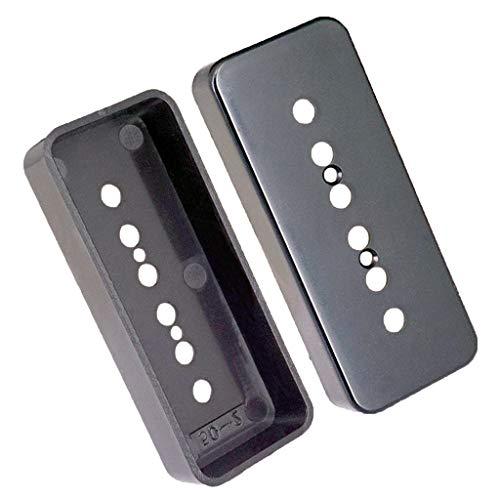 2 Stück (Schwarz) Humbucker Pickup Cover Abdeckung aus Messing 6 Loch für P90 Pickup Parts E-Gitarre Ersatzteil - Schwarz 52mm