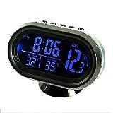 Riloer Reloj de Coche, DC 12-24V Termómetro Digital de Coche Voltímetro Monitor Reloj y LCD Reloj Bidireccional para Coche, Camión, Barco