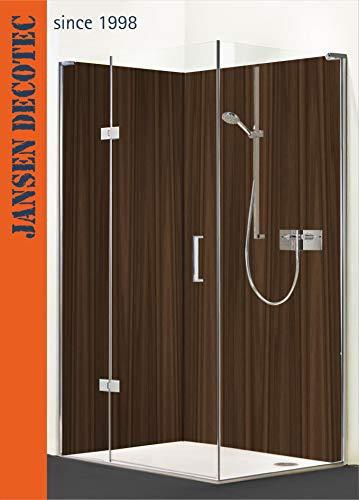 Eck - Duschrückwand, 2 Segmente, je 90x200cm, Motiv: Holzdesign - KOSTENLOSER Zuschnitt auf Ihr Wunschformat !