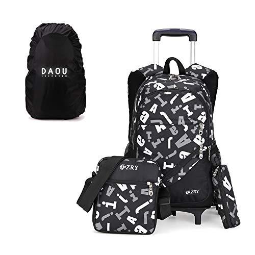 Trolley Rucksäcke Schulrucksack mit Rollen Schule Kinder Trolley Schultasche Rucksack Für Jungen und Mädchen 32 * 18 * 49cm