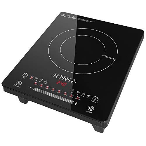 Monzana Induktionskochplatte einzeln 2000W, 28x36cm, LED Display mit Touch-Bedienfeld, Temperatur 80°C - 240°C, 8 Programme Timerfunktion Warmhaltefunktion Induktionsplatte Kochplatte