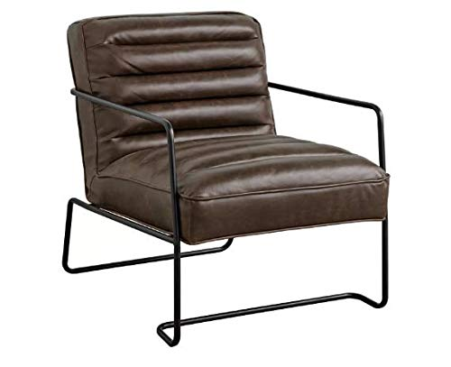 """Target Marketing Systems Homer Mid Century Modern Living Room Ribbed Seat and Back Accent Chair, 31.8"""", Brown"""