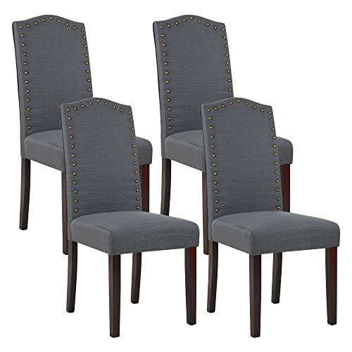 High Back Fabric Upholstered Parsons Dining Chairs with Nailhead Trim (Set of 4, Dgray)