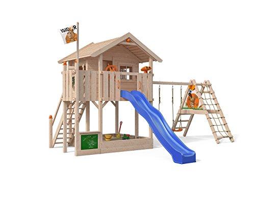 ISIDOR Wonder Wow Spielturm mit erweitertem Schaukelanbau, XXL Rutsche, Sandkasten, Balkon, Treppe auf 1,50 m Podesthöhe (Blau)