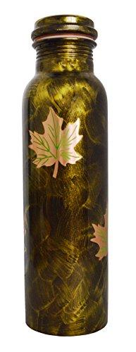 Zap Impex Botella de agua de cobre puro, verde, con diseño de hoja dorada, para la salud ayurvédica, beneficios para la salud ayurvédica, antigoteo (cobre, 900 ml)