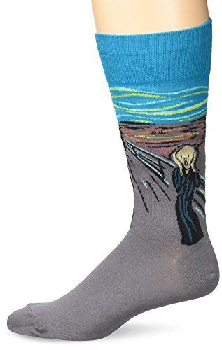 Hot Sox Men's Famous Artist Series Novelty Crew Socks, Scream (Turquoise), Shoe Size: 6-12