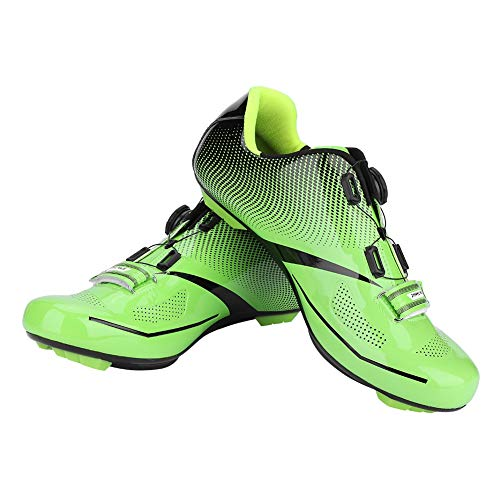 Dioche Zapatillas de Ciclismo para Hombre, Sistema de Bloqueo Antideslizante Antideslizante para Ciclismo de Carretera para Adultos, para Ciclistas(44-Verde)