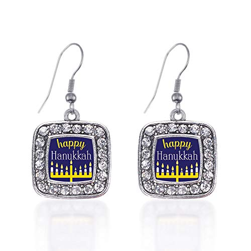 Inspired Silver - Happy Hanukkah Charm Earrings for Women - Silver Square Charm French Hook Drop Earrings with Cubic Zirconia Jewelry