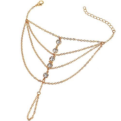 Suyi Finger Ring Bracelet Hand Harness Chain Bracelet Rhinestone Gifts for Women Girls Gold 8CM/3.1IN