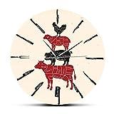 wffmx Coltello da Cucina Macelleria Orologio da Parete Chef Cuoco Manzo Agnello Maiale Carne di Pollo Tabella di Taglio Orologio da Parete Orologio da parete-30X30Cm