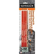 Generals Charcoal Drawing Set, White/Black, Set of 4 Pencils and 1 Eraser - 321742