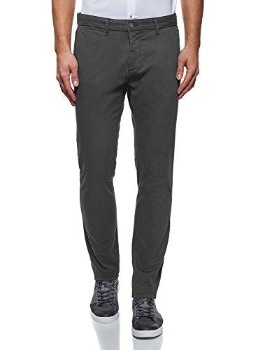 oodji Ultra Homme Pantalon Chino en Coton, Gris, 36