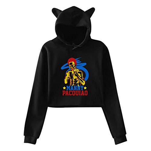 Manny Pacquiao Long Sleeve Sweater Long Sleeve Sweatshirt Women Sweater Casual Baggy Hoodie Cat Ear Sweater Cat Ear Hoodie Sweater Pullover Jacket Black