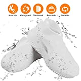 Waterproof Silicone Shoe Covers Reusable Foldable Anti-Slip Rain Shoe Covers Cycling Outdoor Shoe Covers for Men and Women (White, Medium)