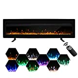 Maxhonor Electric Fireplace Insert Wall Mounted Freestanding Heater with Remote Control, 1500/750W (50inch, Black)