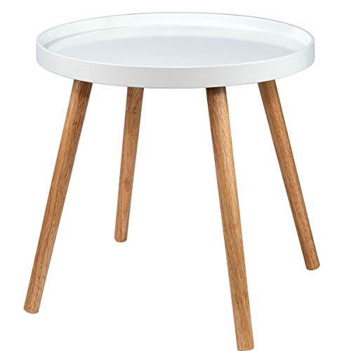 Butlers Swing Time Beistelltisch Ø 50 cm, Höhe 45 cm - Weißer Tisch aus Holz, MDF - Moderner Wohnzimmertisch - Retro