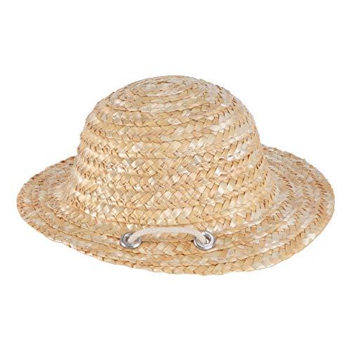 STOBOK Sombrero de paja para mascotas, 1 pieza adorable y delicado gato con bloque de sol, sombrero tejido de paja para mascotas Dress Up Prop para gatos y perros, color al azar de cuentas
