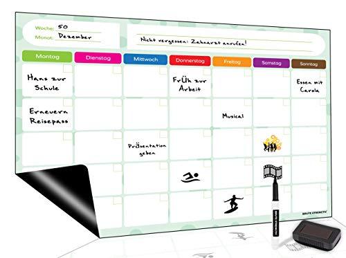 Brute Strength - Wochenplaner Abwischbar Magnetisch, Organisation Monatsplaner, Wochenplan Haushaltsplan, Magnetisches Whiteboard, Magnettafel Küche Kühlschrank