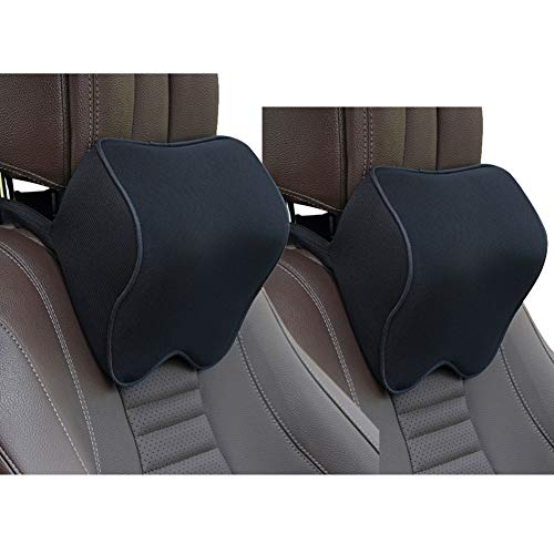 CHABAO 2 Pack Car Seat Neck Pillow, Auto Head Neck Support Pillow for Relieving Neck Fatigue, Comfort Headrest Cushion for Chair, 100% Pure Memory Foam and Ergonomic Design