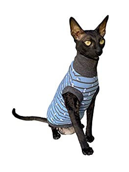 Kotomoda Sphynx Chat à col roulé Bleu Petit chat Nu Vêtements pour chat Sans poils (S)