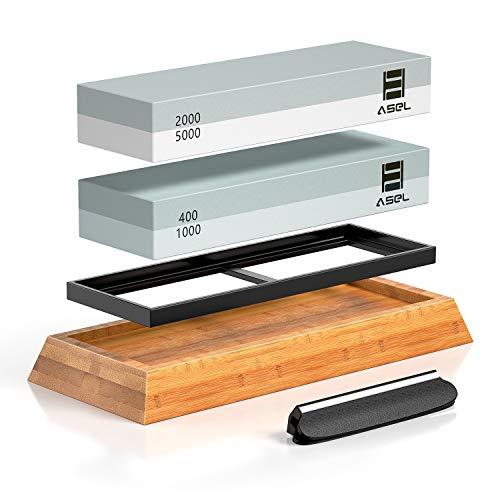 Premium Knife Sharpening Stone Kit, ASEL 4 Side 400/1000 2000/5000 Grit Whetstone, Best Kitchen Blade Sharpener Stone, Non-Slip Bamboo Base and Bonus Angle Guide Included
