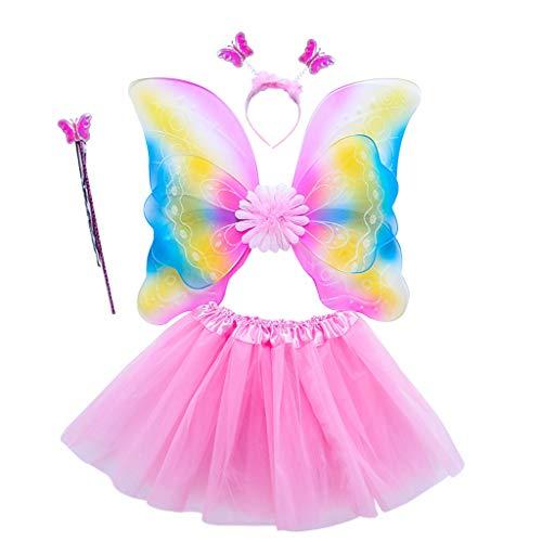 MYA 4 Pcs Enfant Robe Princesse Filles Costume De Fée Ensemble ARC-En-Papillon Ailes Trois Couches Tulle Tutu Jupe Baguette Bandeau Princesse Halloween Party 3-8 Age