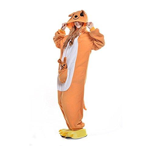 LPATTERN Unisex-Erwachsene Cosplay Pyjamas Onesie Tier Kostüm Schlafanzug Jumpsuit für Halloween Karneval, Känguru, Large (Korpergröße 170-178CM)