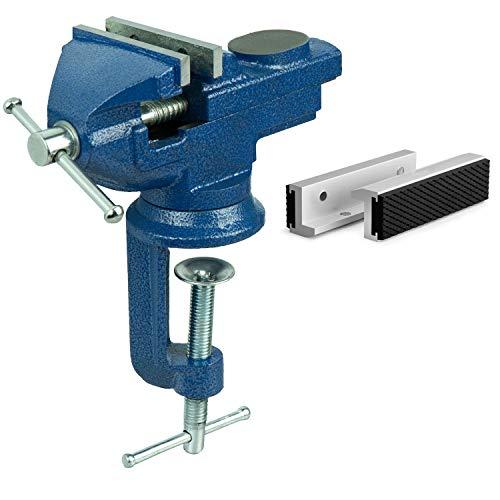 HRB Schraubstock 70 mm inklusive Schonbacken, Schraubstock klein klemmbar für Werkbank drehbar massiv gefertigt mit Hammerschlaglackierung versehen