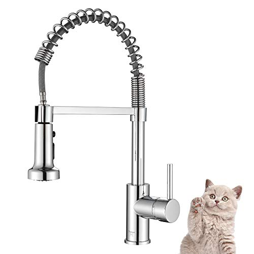 Kitchen Faucet with Pull Down Sprayer, Oakland Kitchen Sink Faucet Chrome Solid Brass Commercial Kitchen Faucet Single Hole with 3 Function, KSK1125-C
