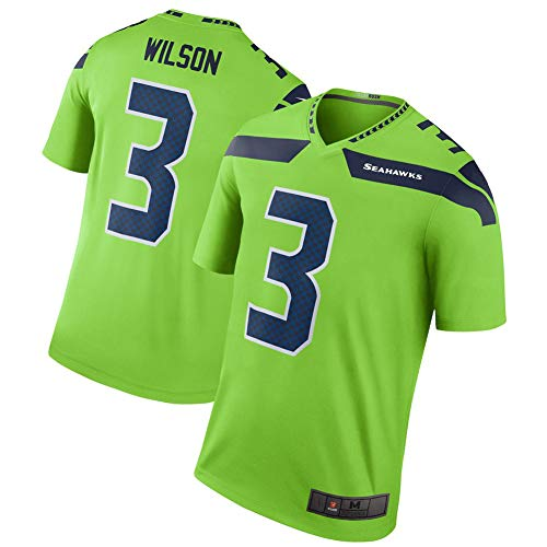 3# Russell Wilson Seattle Seahawks Rugby-Trikot Fußballtrikot für Herren-Fullback-Athleten-Trikot Unisex-Trainingshemden Poloshirt Professionelle Anhängerkleidung-Green-XXXL