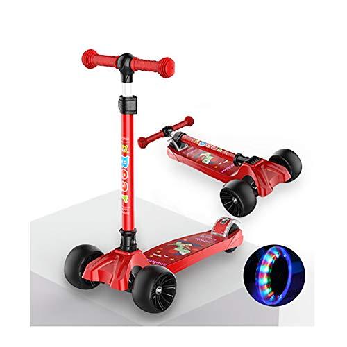 GAOTTINGSD Freestyle - Patinete plegable con 3 ruedas, soporta 100 kg, altura regulable 73 cm ~ 83 cm (color: rojo)