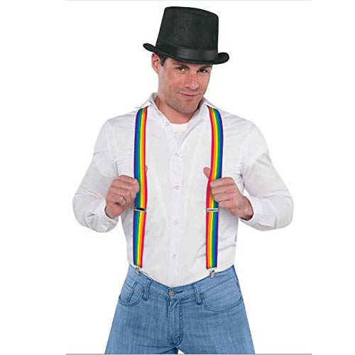Amscan 397282 Striped Adjustable Accessory Suspenders, Rainbow