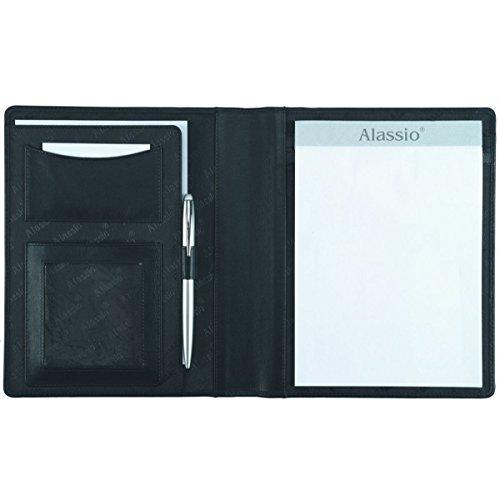 Alassio 43004 - schrijfmap A5 Bormio van imitatieleer, zwart, conferentiemap ca. 23 x 18 x 2 cm, map voor A5 documenten, met blok en A5 insteekvak
