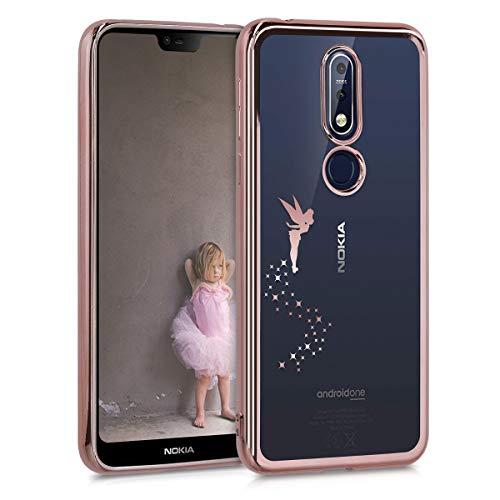 kwmobile Hülle kompatibel mit Nokia 7.1 (2018) - Hülle Handy - Handyhülle Fee Rosegold Transparent