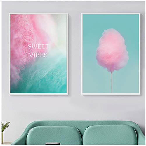 QIAOB Decoración nórdica de Dibujos Animados para el hogar Sweet Vibes algodón de azúcar Lienzo Pintura Cuadros de Pared para bebé decoración de habitación de niños sin Marco