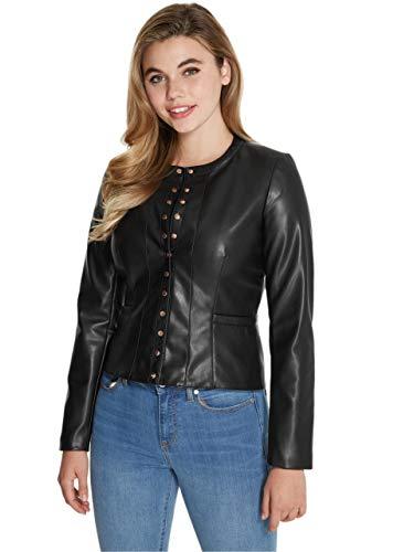 GUESS Factory Women's Osea Faux-Leather Moto Biker Jacket