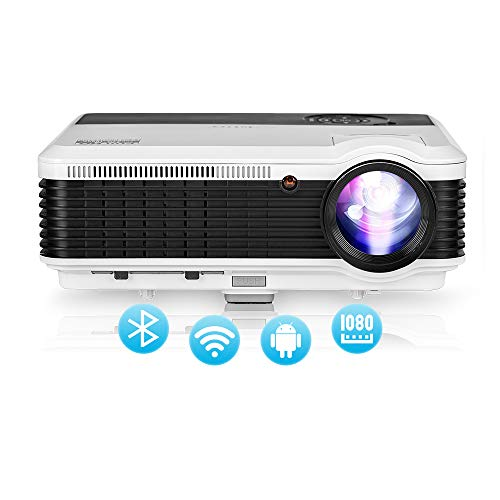 2020 Upgrade 4800lumen WiFi Bluetooth Projector Support 1920 x 1080P, Smart Wireless Home Cinema Projector with Synchronize Smartphone Screen,Compatible with HDMI, USB, Fire TV Stick, DVD, PS4, Laptop