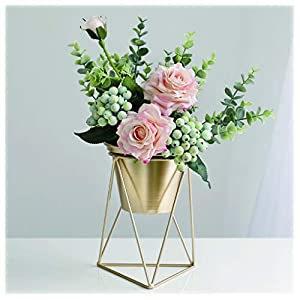 NYKK Decoration Artificial Flowers Artificial Silk Rose Flowers Head Used for Bedroom and Living Room Table Placement Silk Flower (Champagne) Table Centrepieces