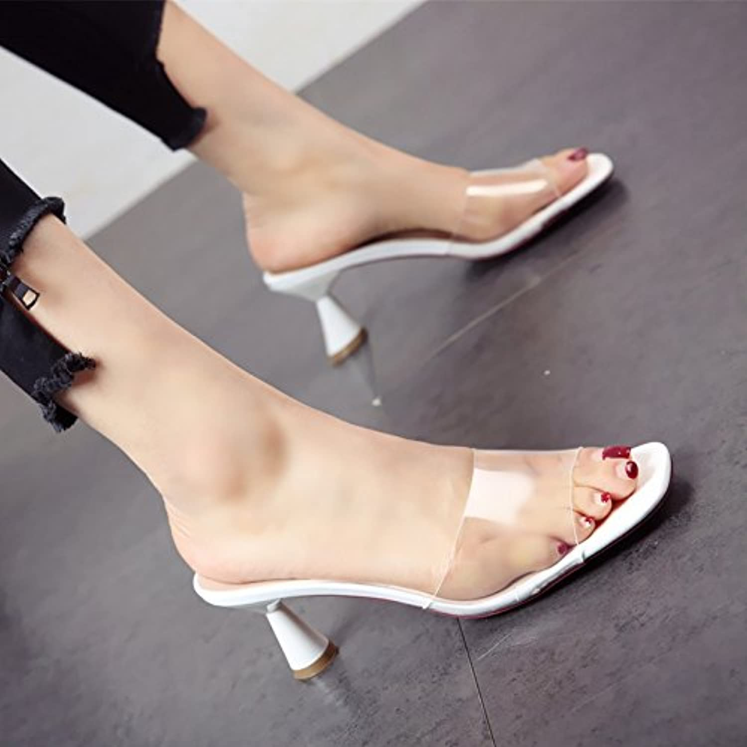 GTVERNH-Women's Ladies Fashion Summer in Summer Toes Cats Heels 9Cm Heels Drag Wear Slippers Women Tide.