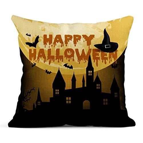 Dekokissen Orange Silhouette Halloween Nacht Spukhaus Baum Kürbis und Fledermäuse Abstrakt Leinen Kissen Home Dekorative Kissen