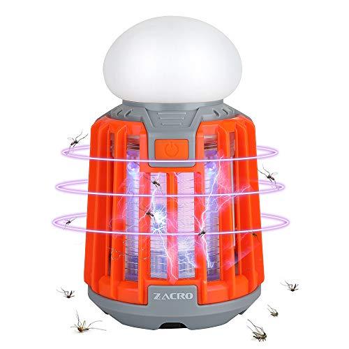 Zacro Mosquito Killer Elektrischer Insektenvernichter Insektenlampe Zeltlampe campinglampe Lagerlicht 2 in 1,Mückenfalle Mückenlampe mit 2000mAh Akku, IPX6 Wasserdicht