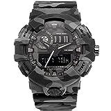 WNGJ Camuflaje al Aire Libre Reloj Militar Explosivo Deporte Impermeable Impermeable Pantalla led Luminoso Reloj Digital Black